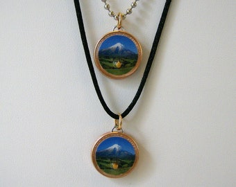 """Lucky Penny Pendant Mustard Seed """"Faith can Move Mountains"""" Charm Necklace"""