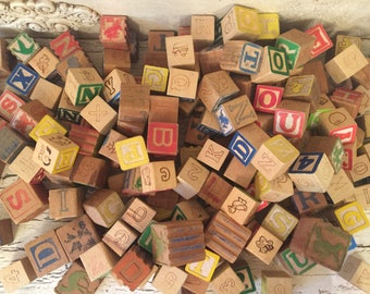 Collection of 150 Mixed Vintage Alphabet Blocks