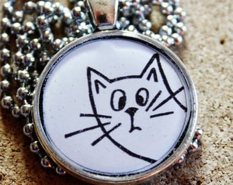 Cat Necklace,Resin Pendant Necklace,Cat Lover Gift,Cat Mom,Womens Necklace