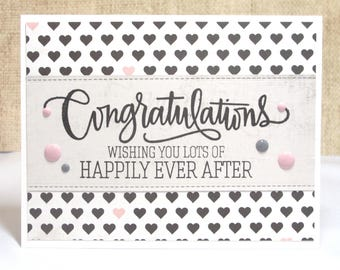 Wedding Card-Congratulations- Happily Ever After- Bride Card- Groom Card