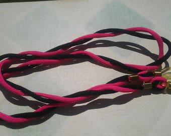 clearance/destash Girl's/Woman's pink and black stetcthy cloth ribbon  eyeglass holder perfect for beach and swimming