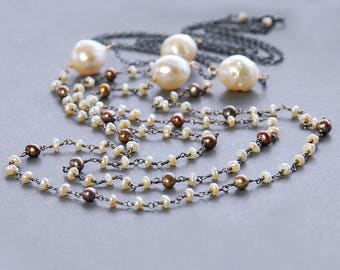 Pearl Lariat by Agusha. Long Multi Pearl Necklace. Baroque Pearl, Fresh Water Pearl Oxidized Silver Necklace