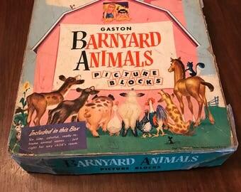 Vintage Gaston Barnyard Animals Wooden Picture Block Puzzle 1950s