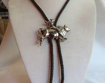 Adjustable Silver Horse Pendant Necklace, necklace, adjustable, silver horse, horse, brown leather cord, vintage