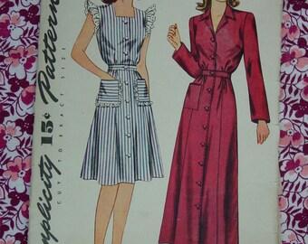 Vintage Pattern c.1940's Simplicity No.4718 Misses House Dress or Housecoat, Size 14