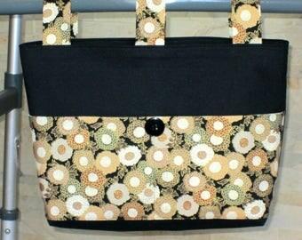 Adult Woman Cotton Walker Bag Tote Caddy Purse – Coal Black Bag Lining, Gold Beige Black Circular Pattern Pockets & 3 Straps, Black Button