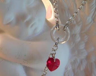 A red crystal heart necklace