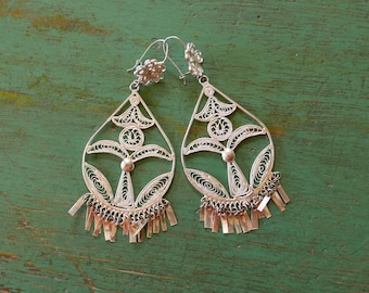 Large Mexican filagree Tehuana earrings silver wash dangle costume  boho Frida Kahlo drop 4""