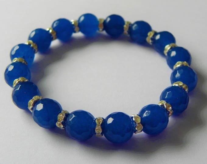 Royal blue quartz faceted stretch bracelet with rhinestone rondelles.