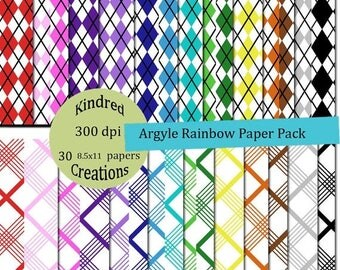 ON SALE Argyle Rainbow Digital Paper Pack 300 dpi 8.5x11 30 papers For Personal or Small Business Use