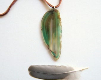 Agate Slice Necklace - quartz, natural, green, agate necklace, quartz necklace, minimal necklace, deerskin cord, bohemian, modern, ooak