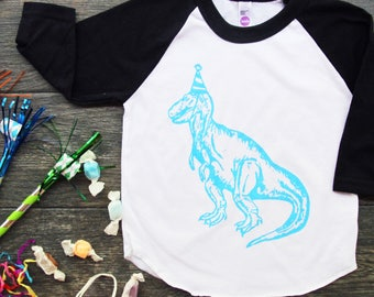 Dinosaur Party Hat Screen Print Baby Baseball Tee - Black with Blue