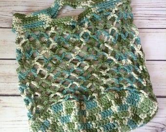 Green Reusable Market Bag, Reusable Grocery Bag, Cotton Market Bag, Produce Bag, Crochet Bag, Beach Bag, Summer Tote