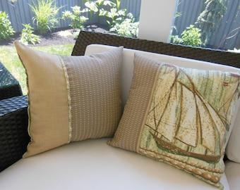 Outdoor Ship Pillow - Beach Pillow - Porch Pillow - Vintage Style - Tan Pillow - Green Pillow - Schooner Pillow - Outdoor Pillow