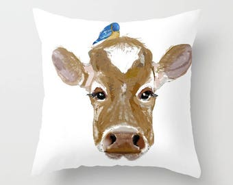 Outdoor Pillow Cover, Cow with Bluebird