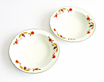 "Vintage Halls Superior China Fruit Bowls, Jewel Tea ""Autumn Leaf"" Bowls 1950s, Small China bowls, Set of Two."