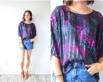 20% OFF JULY 4th SALE Vintage black floral short sleeve shirt // black floral blouse floral boho summer shirt // floral boho top / boho shir