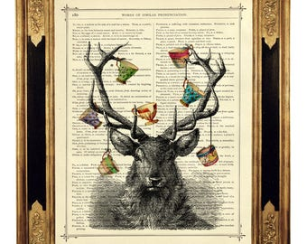 Deer Stag Art Print Antlers cracked Teacups Hannibal - Vintage Victorian Book Page Art Print Steampunk Gothic Halloween Poster