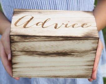 Advice Box Rustic Advice Box Bridal Shower Gift Bride Advice Box Groom Advice Box Advice For The Couple Box