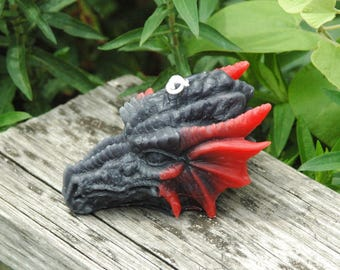 Dragon Beeswax Candle ~ Red and Black Dragon Head Beeswax Candle ~ Dragon Skull Beeswax Candle ~  Fantasy Dragon Candle