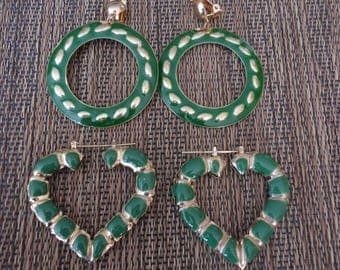 2 Pair of Vintage Jade Green Retro Enamel Gold Tone Light Weight Statement Earrings, Clip On and Pierced