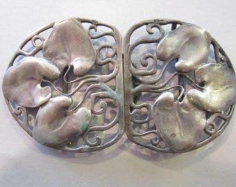 art nouveau pewter? silver buckle gorgeous