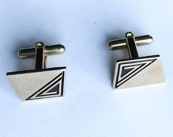 Cuff Links Silver Black Art Deco Cufflinks Vintage Mens Jewelry Jewellery Wedding Accessories Gift Guide Men