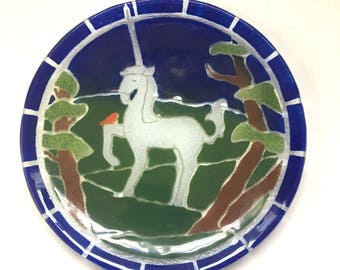 Fused glass unicorn plate - Silva Glass Design - 1980s decorative glass plate