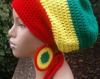 MADE TO ORDER Red Bright Yellow and Emerald Green Slouch Hat/ dreadlock with drawstring /free matching crochet earrings Rasta Colors
