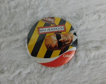 Rare 1980's Vintage Max Headroom Coca Cola Pin Pinback Button Dr15
