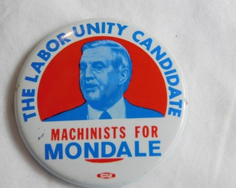 Rare 1984 Presidential Election Pin Pinback Button Machinists Supports Mondale   DR-8