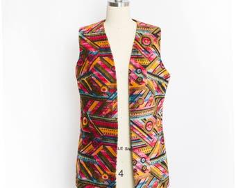Vintage 60s Vest - Aladdin Geometric Tapestry Ethnic Boho Waistcoat 1960s - Small