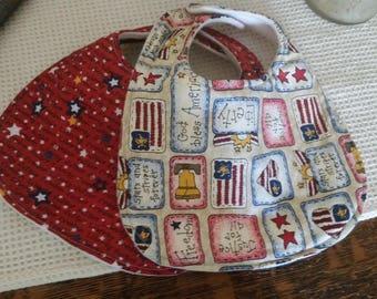 Bibs, Set of 2, 4th of July, Red, White, Blue, Flags, Stars, Baby, Toddler, Boys, Girls, Baby Bibs, Drool Bib, Infant Handmade