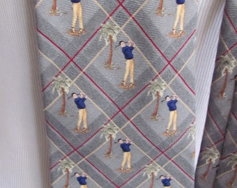 Tommy Bahama - Mens Gray Golf Silk Neck Tie Designer 4 x 58 NWT
