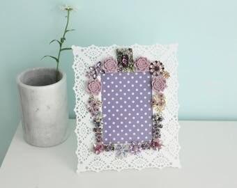 Vintage Jewelry Collage Frame Art Lavender Purple Rhinestone Antique Flower Floral Polka dot Lace White BeJeweled Violet Nursery Art Office