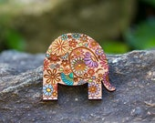 Cute Floral Elephant Brooch - Hand painted designer wood brooch with flowers, unique Australian design, OOAK