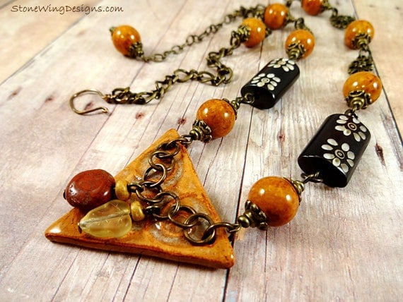 Boho Rustic Necklace with Artisan Ceramic, Carved Bone, Yellow Jasper and Antique Brass Filigree