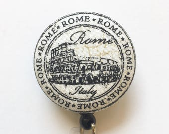 Rome Badge Reel - Travel Stamp Badge - Roman Coliseum - ID Badge Holder - Retractable ID Reel - Name Badge - Nurse Gift - Fabric Badge Reel