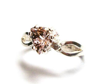 """Pink beryl, pink beryl ring, solitaire ring, split shank ring, promise ring,  pink peach,   s 6 3/4    """"Maize"""""""