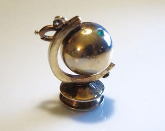 Trifari Globe Charm Gold Fill pendant Blue Rhinestone Gem Signed Trifari Pat Pend