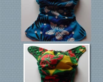 SassyCloth one size pocket diaper with  Hawaiian flowers print. Ready to ship.