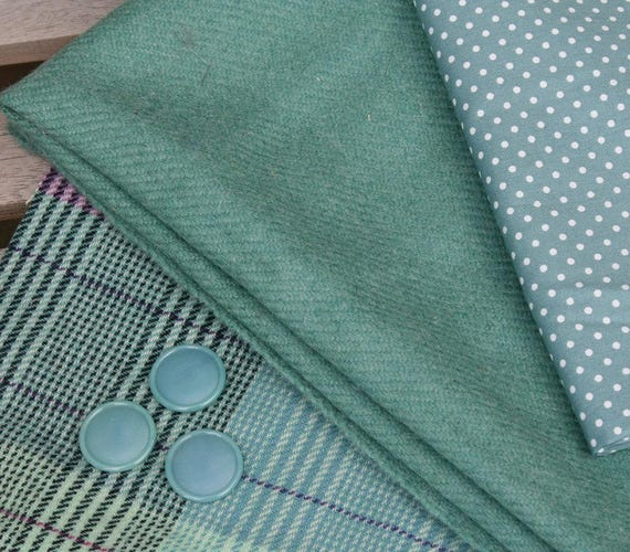 One-off fabric pack in minty green shades with handwoven Harris Tweed, unique cashmere tweed, cotton polka dot and vintage buttons