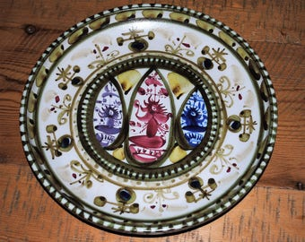 Vintage HAND PAINTED PoTTERY Plate Dish AzTEC Design SiGNED Estate Find