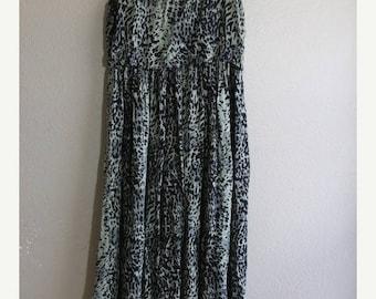 SALE vintage green leopard print maxi dress with beaded fringe- sale