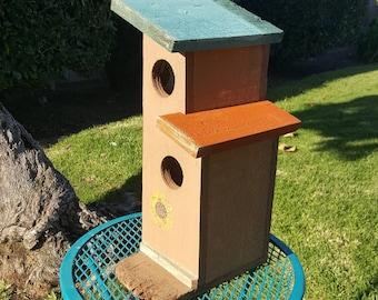 Modern birdhouse,handmade birdhouse,unique birdhouse,outdoor birdhouse,garden decor,vintage,googie,mid century modern,handpainted,wooden