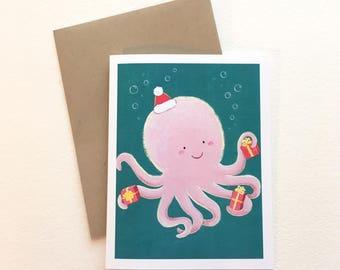 Octopus Santa Christmas Card by Megumi Lemons