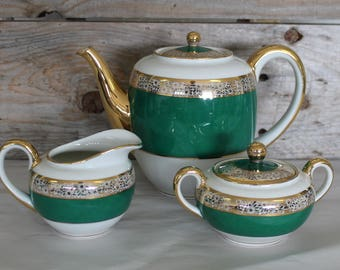 K&A Krautheim 22KG Lined Selb Bavaria Germany US Zone Number 7036 Tea Serving Set 3 Piece