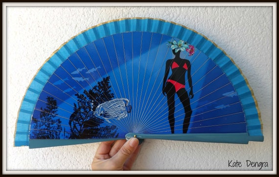 Blue Hand Fan with Underwater Lady Bikini Design Spanish Hand Fan Limited Edition