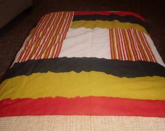 vintage ladies head neck scarf red gold black white stripes solids