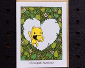 glad I found you card, cute love card, screen printed valentine, valentine